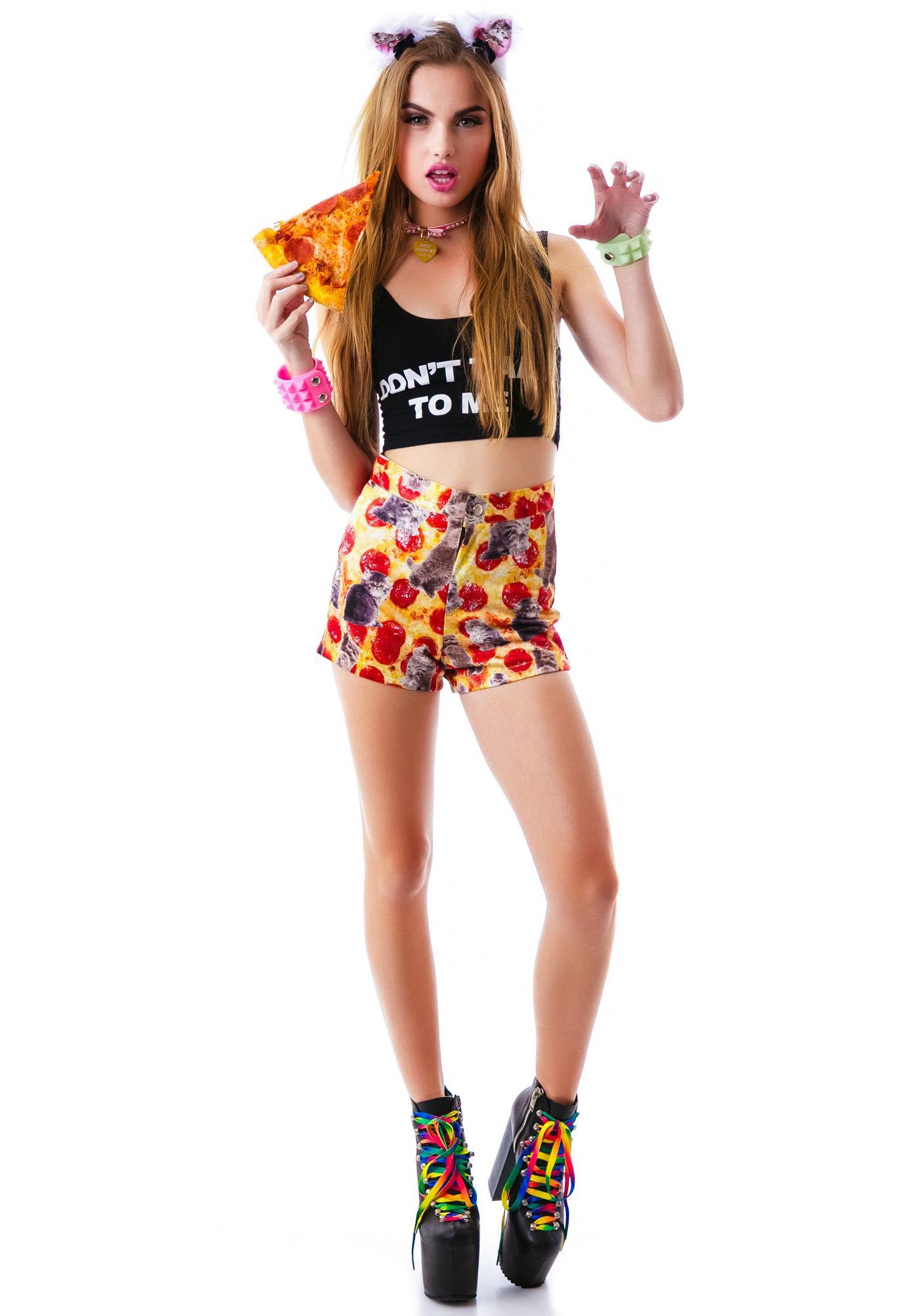 O Mighty Kitty Pizza Booty Shorts