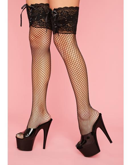 Take Me Away Fishnet Thigh Highs