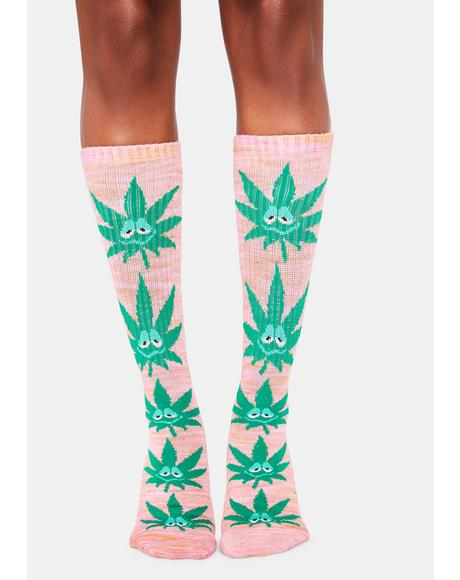 Pink Green Buddy Crew Socks
