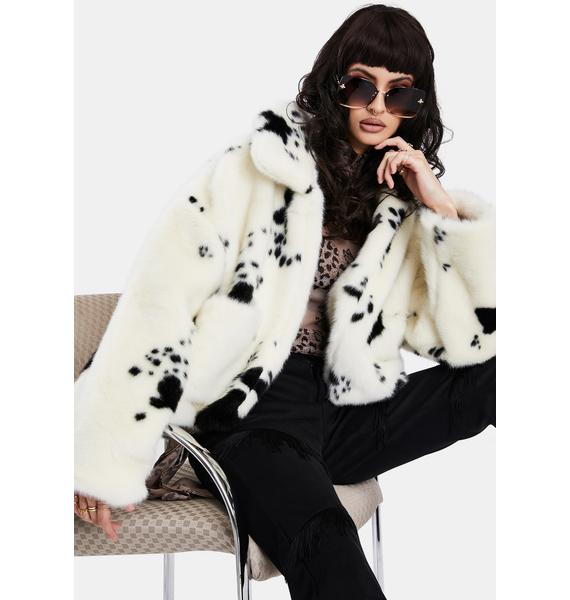 BADEE Cow Oversized Faux Fur Jacket