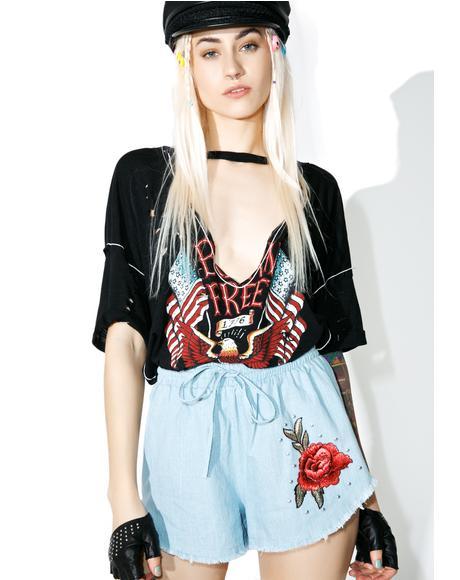 Wild Rose Denim Shorts