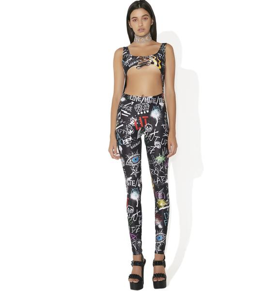 Jaded London Graffiti Lace-Up Cut Out Catsuit