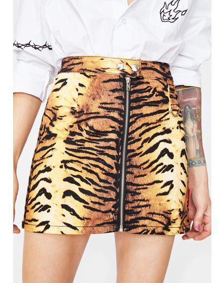 Natural Tiger Mini Skirt