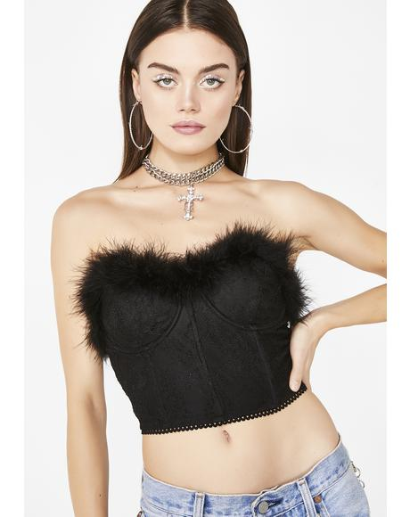 Night Fatal Attraction Feather Bustier