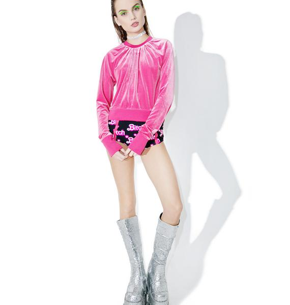 Cheap Monday Pink Velvet Sweater