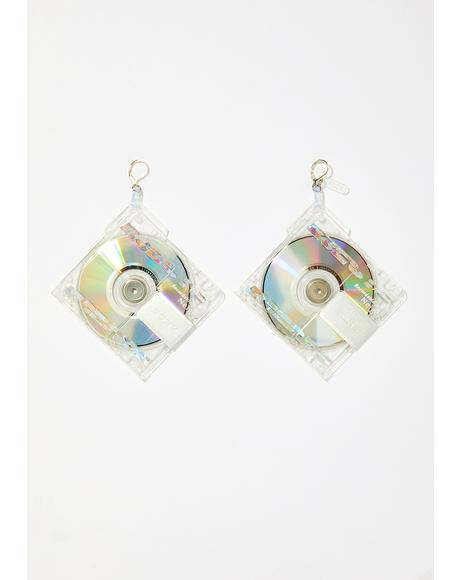 Crystal Clear Mini Disc Earrings