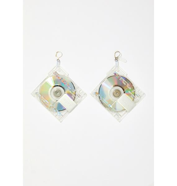 EJECTS Collection Crystal Clear Mini Disc Earrings