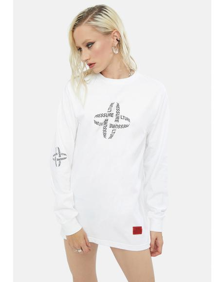 Beta White Center Long Sleeve Tee