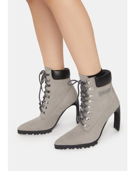 Snare Suede Pointed Toe Heeled Work Boots