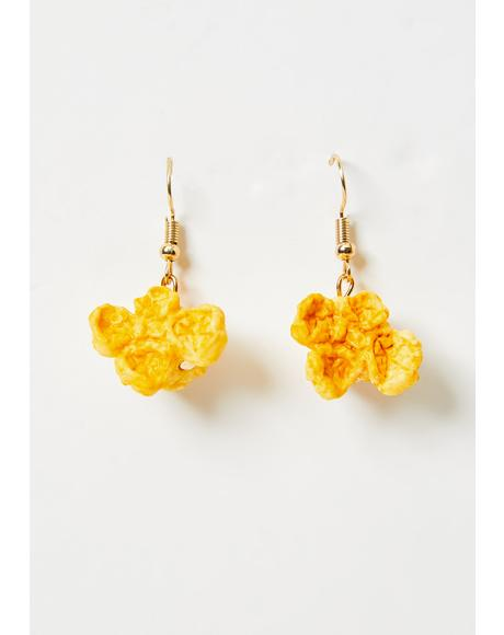 Buttery Movie Snack Popcorn Earrings