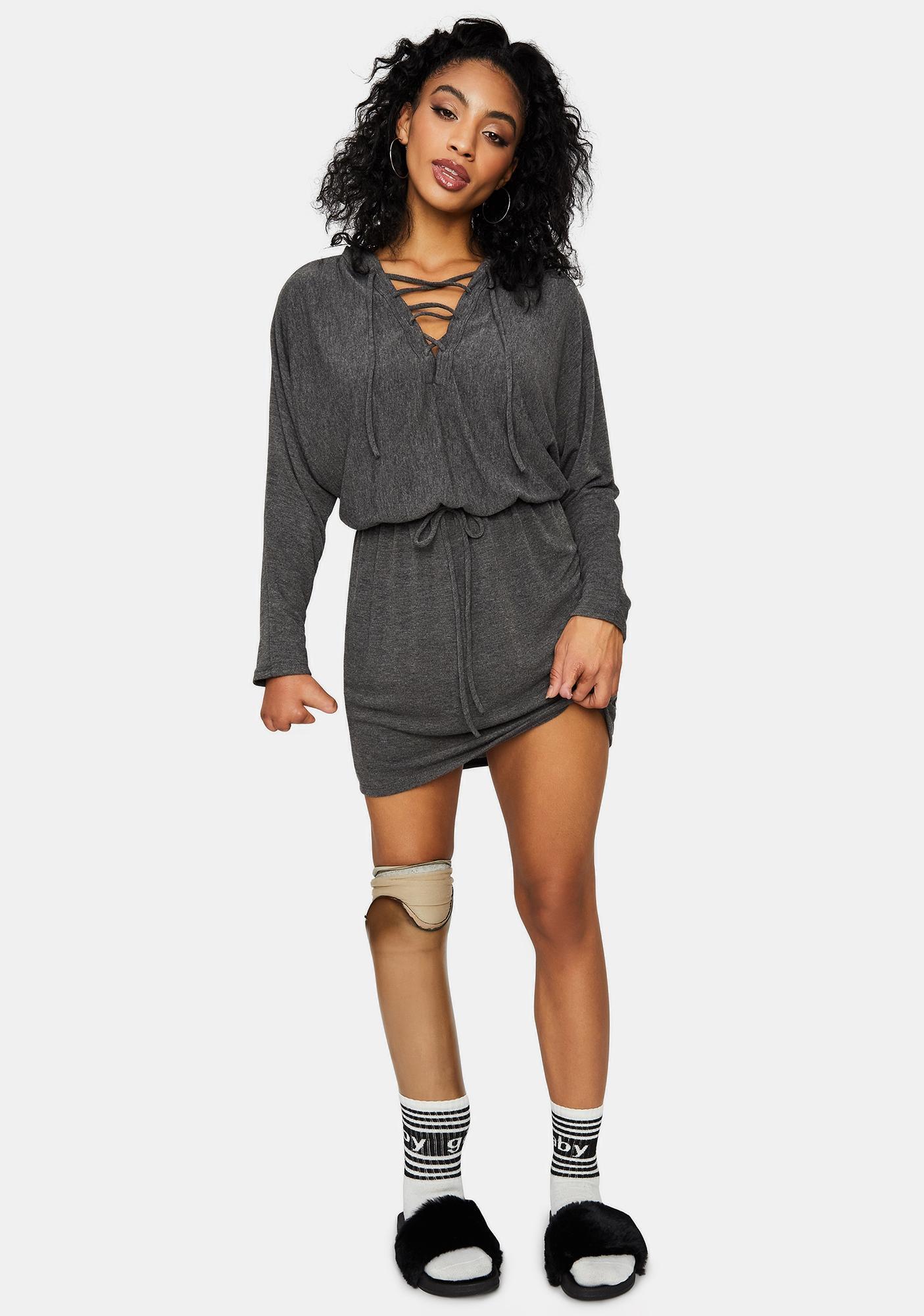 Never Settle Down Mini Hoodie Dress