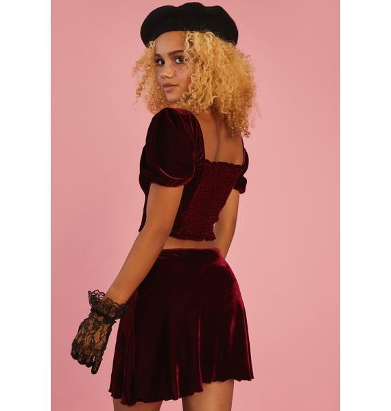 Sugar Thrillz Fade Into You Velvet Skirt