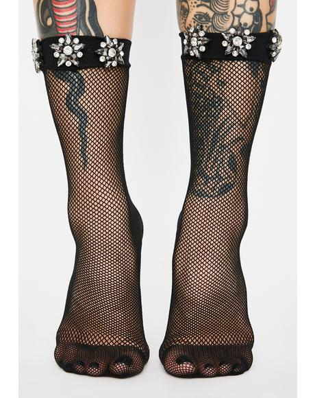 Crystal Bouquet Fishnet Crew Socks