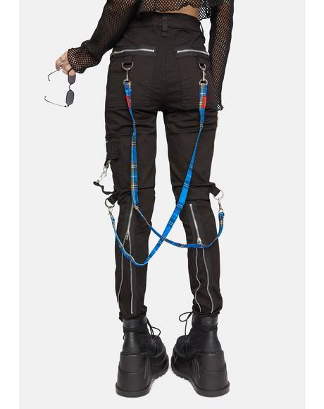 Blue Plaid Bondage Pant Straps