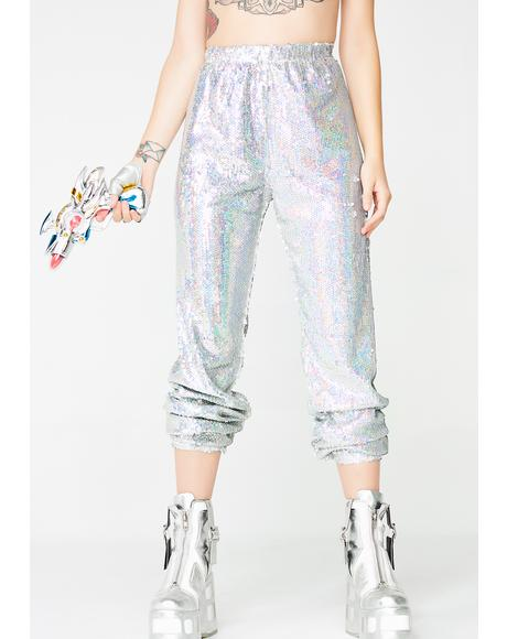 Holographic Sequin Joggers