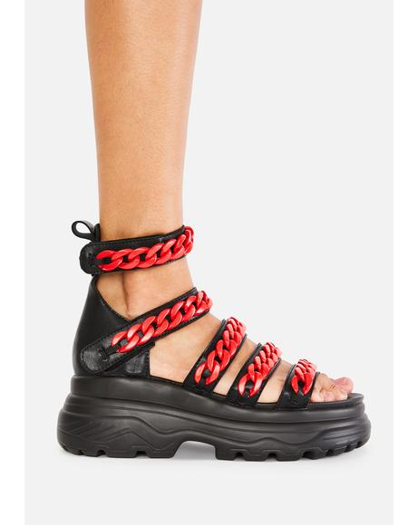 Red Strident Chain Gladiator Sandals