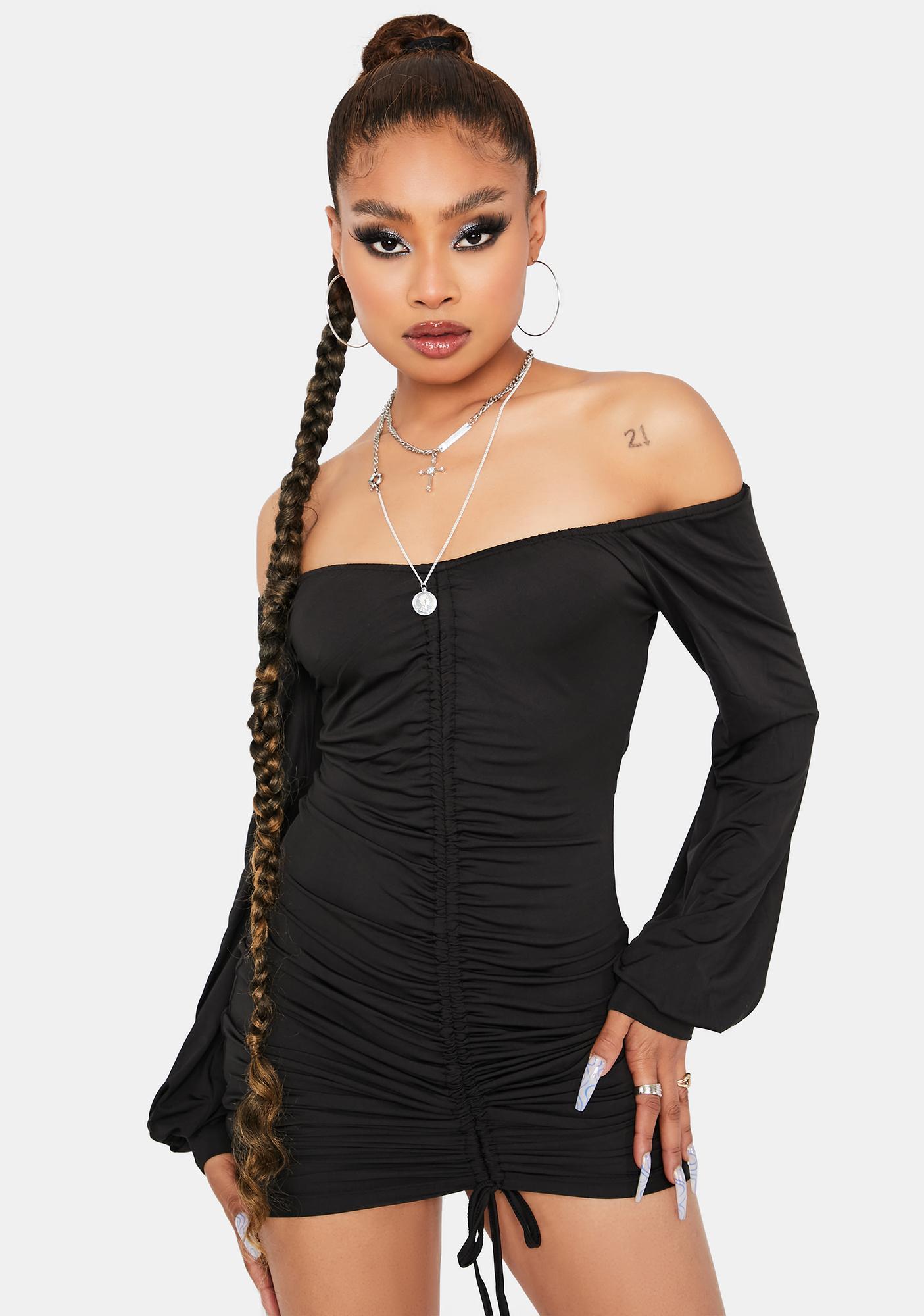Me Too Boo Ruched Long Sleeve Mini Dress