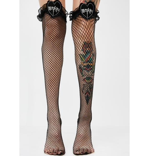 Morph8ne Lace Top Fishnet Thigh Highs