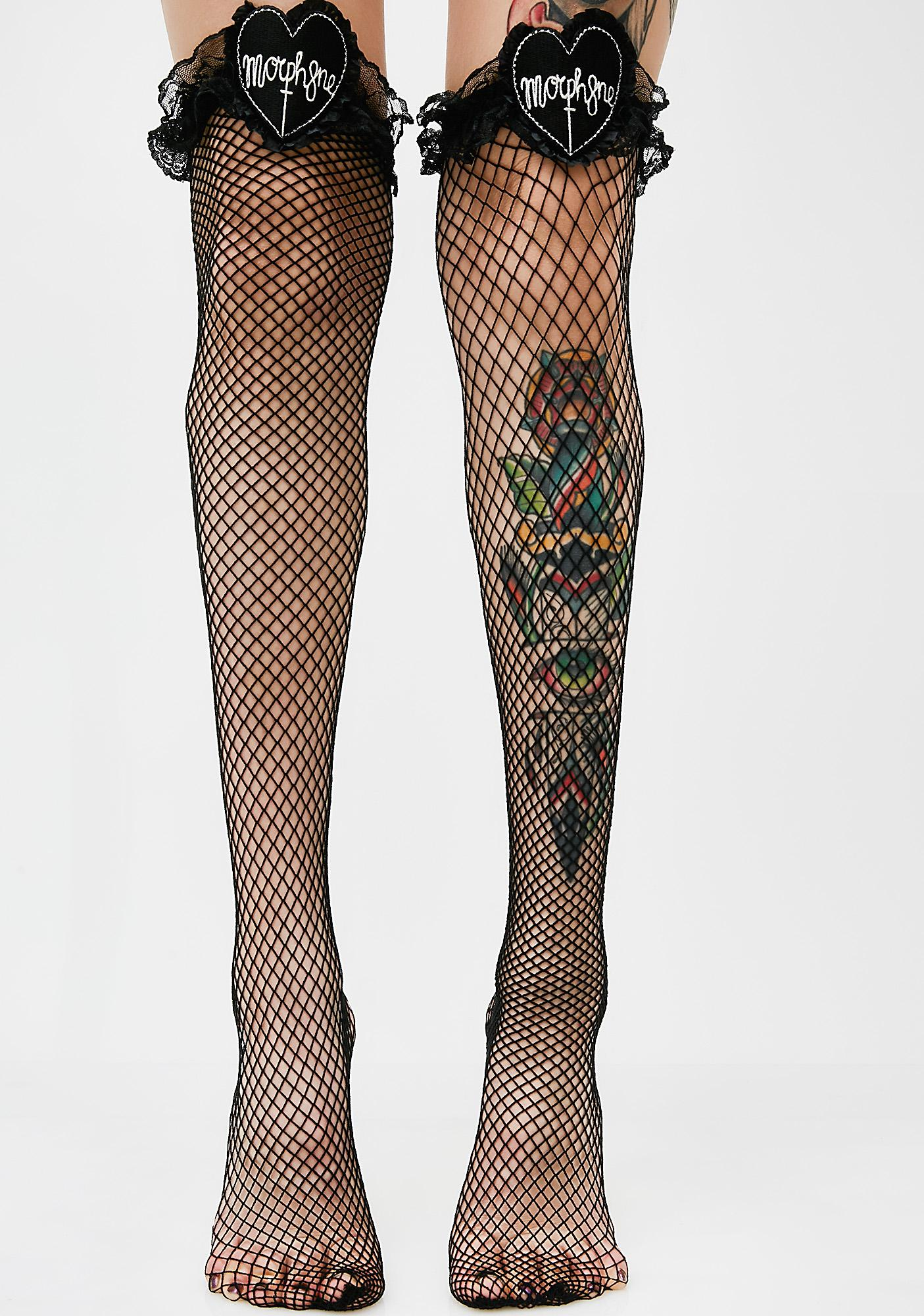 613330dde6a9f Morph8ne Lace Top Fishnet Thigh Highs | Dolls Kill