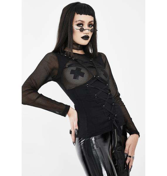 Devil Fashion Lace Up Long Sleeve Pentagram Top