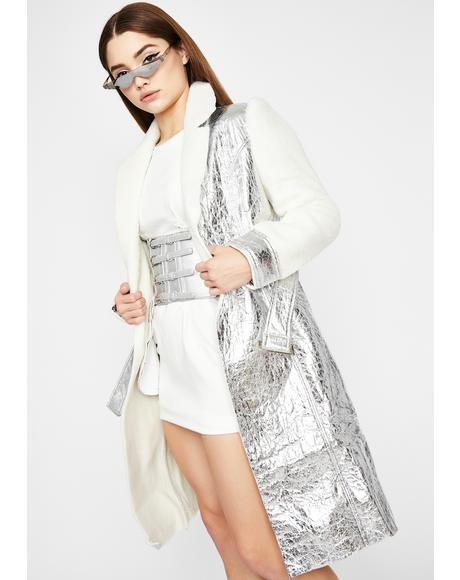 Serenity Embrace Metallic Trench Coat