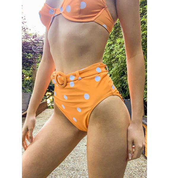 For Love & Lemons Tangerine Auburn Dot Bikini Bottoms