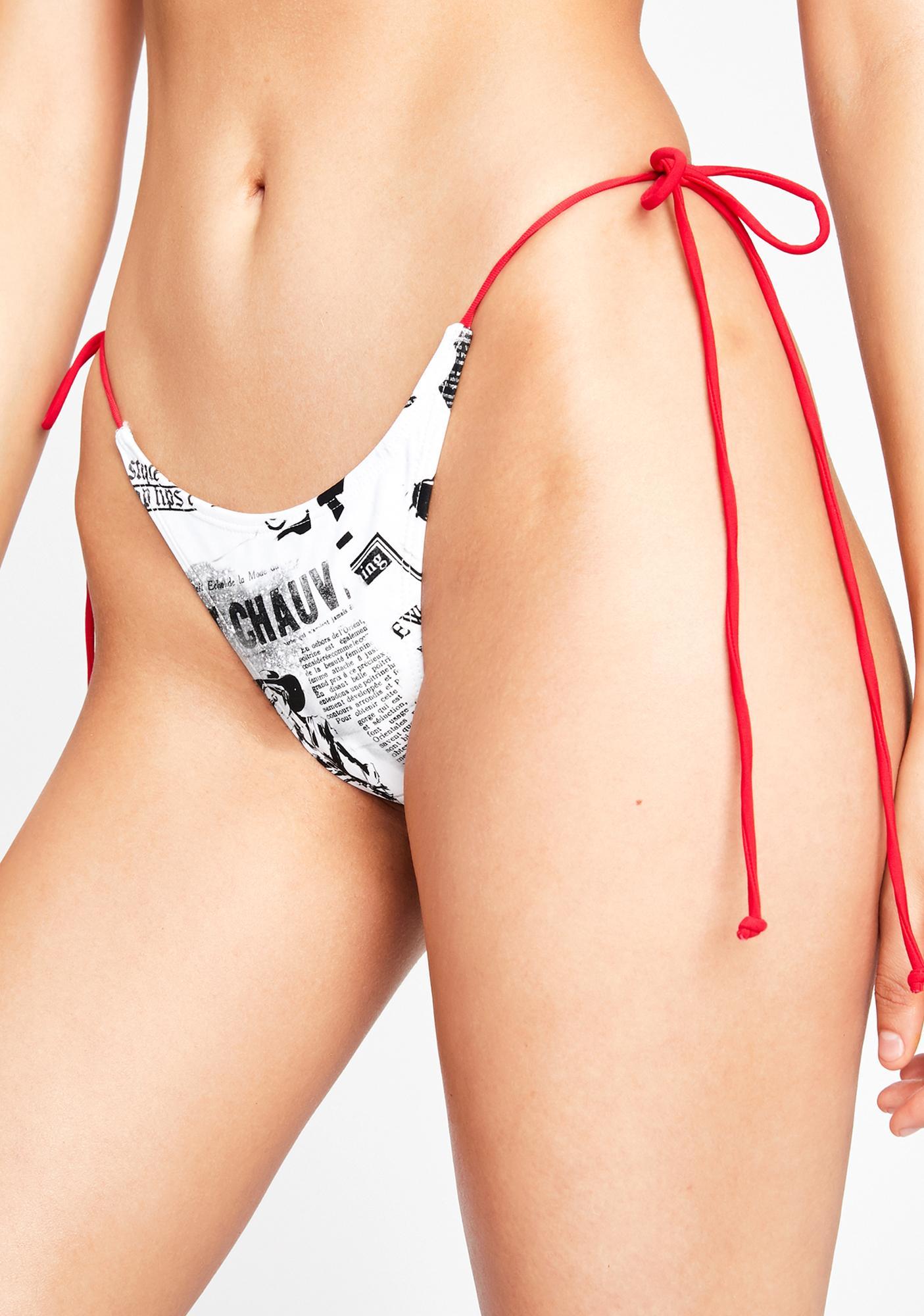 Jaded London Newspaper Print Tie Side Bikini Bottoms