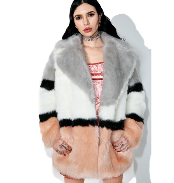 Jakke Brooke Patterned Faux Fur Coat