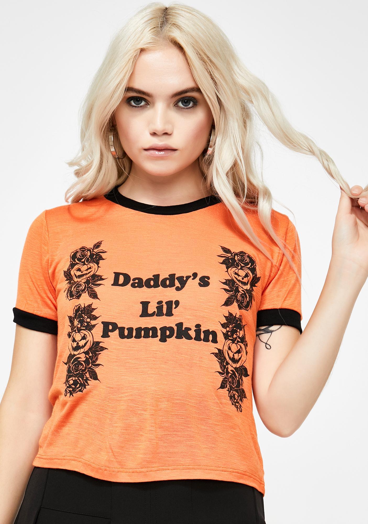 Vera's Eyecandy Daddy's Lil Pumpkin Ringer Tee