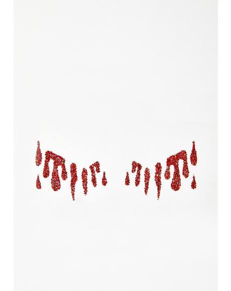 Red Glitter Tears Stickers
