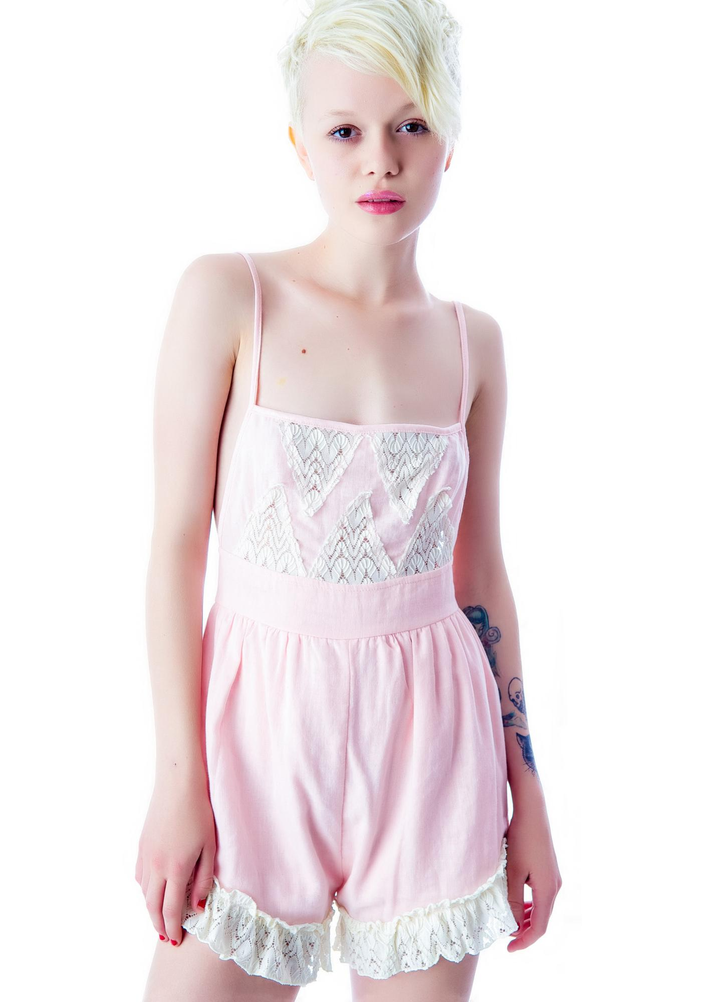 Under The Table Pretty n' Pink Lace Shorts Romper
