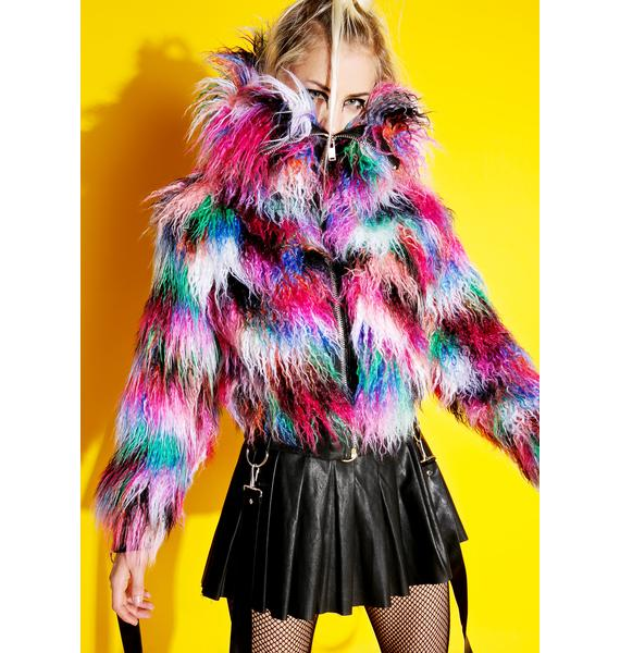 Current Mood Dark Galaxies Faux Fur Jacket