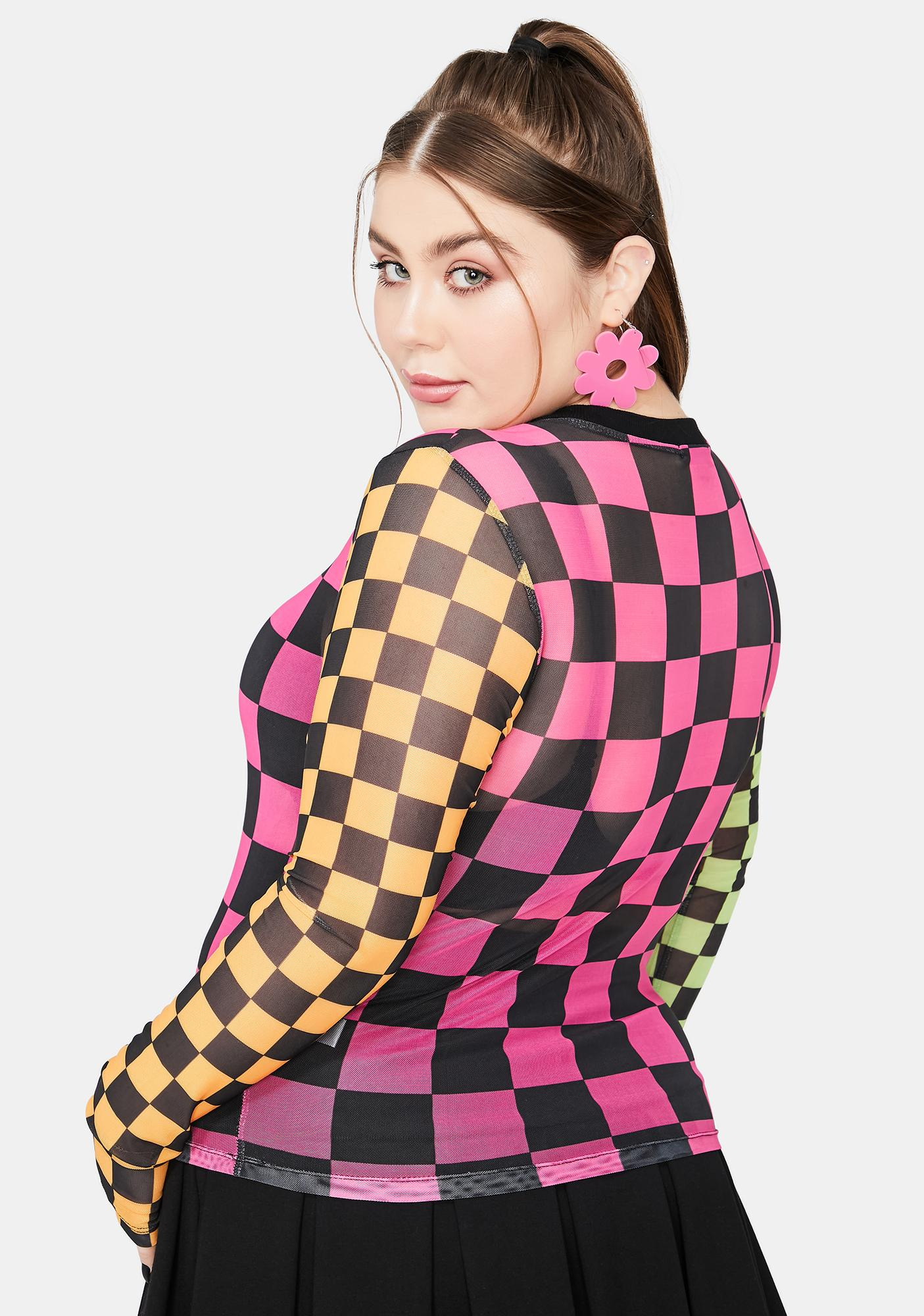 dELiA*s by Dolls Kill It's Reality In Motion Checkered Mesh Top