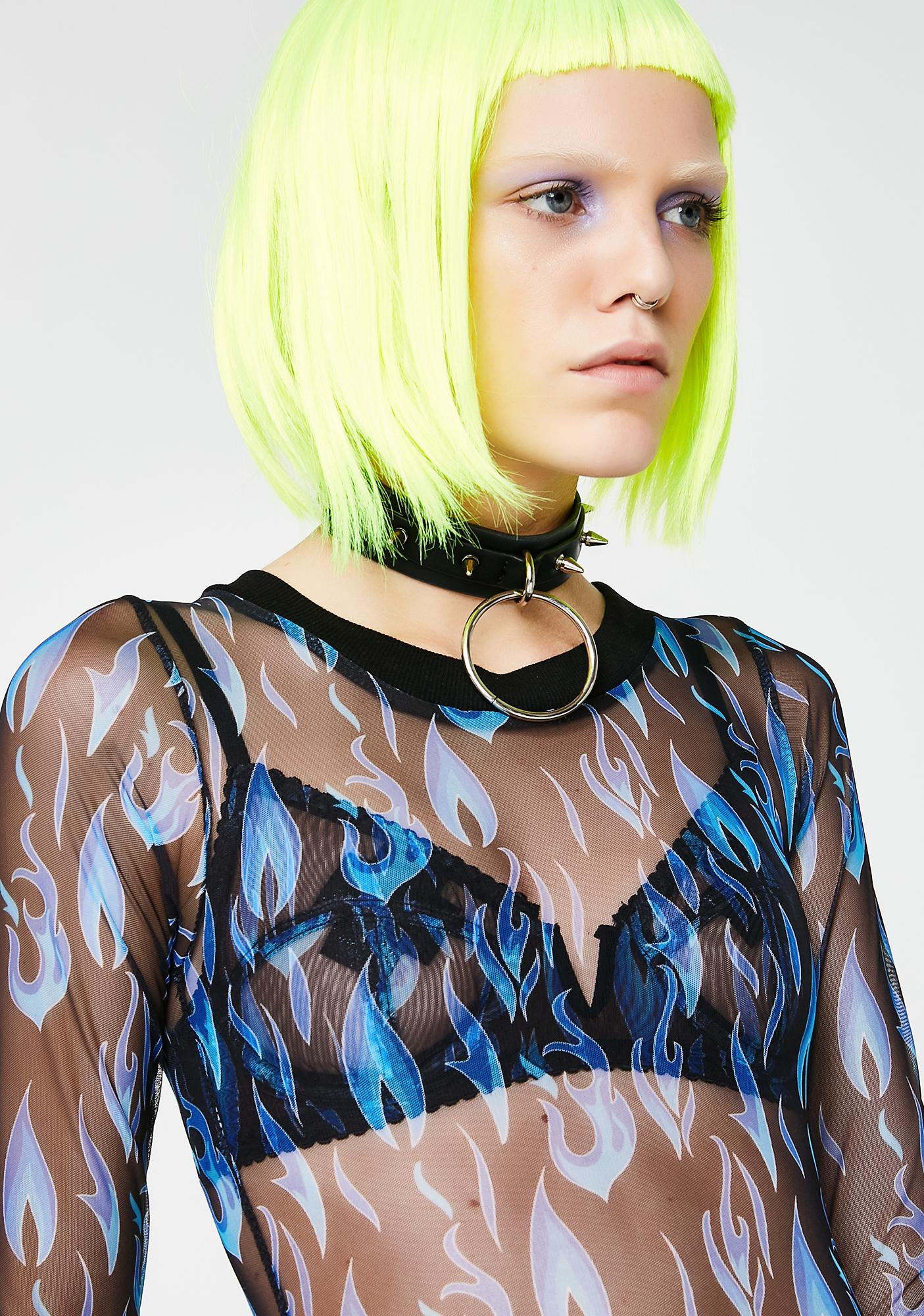 Current Mood Electric Fire Sheer Bodysuit