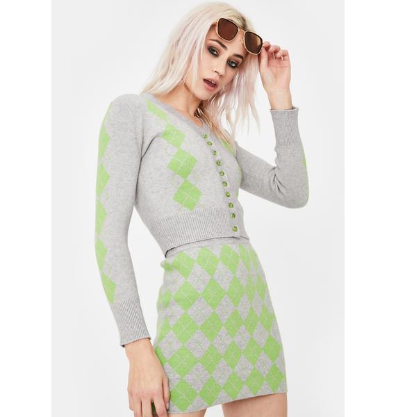 No Dress Green Argyle V Neck Cardigan