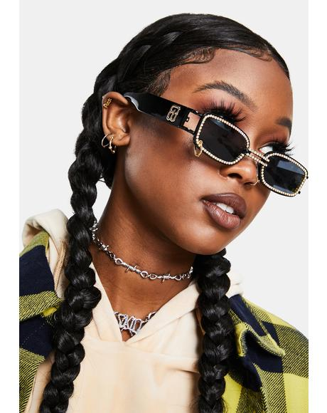 Noir Lose Ur Mind Rhinestone Sunglasses