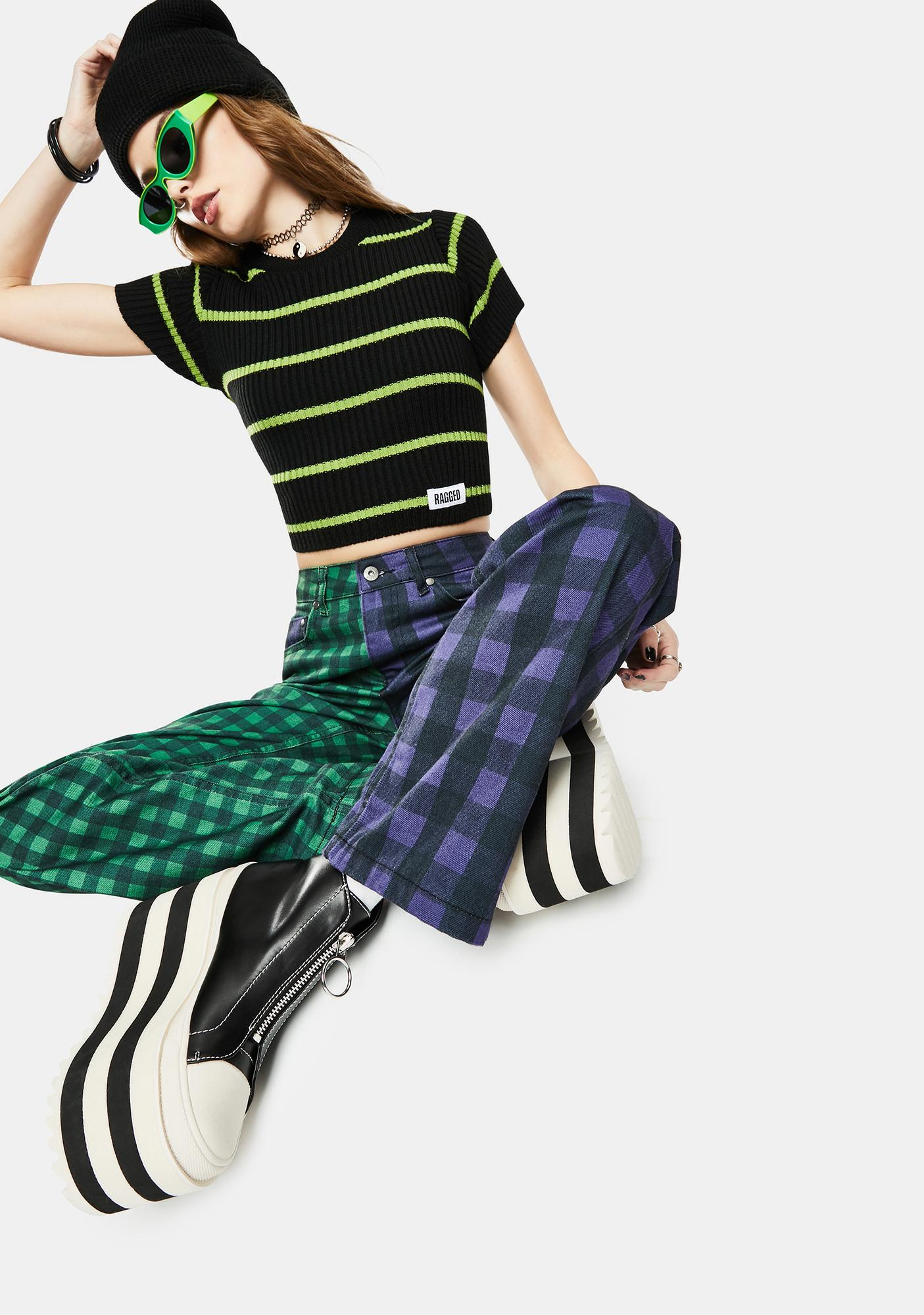 The Ragged Priest Swing Striped Crop Top