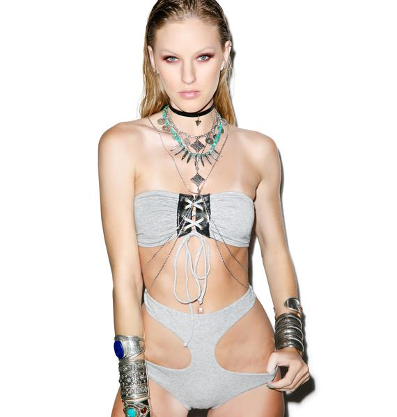 One Teaspoon Abbey Lee Lace Up Bandeau