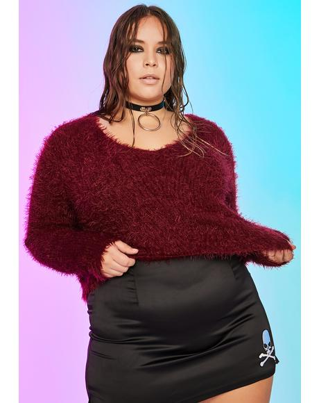 True Fuzzy Signals Cropped Sweater