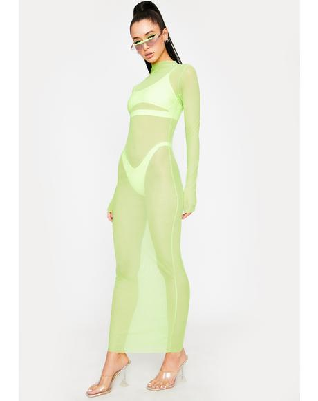 Green Godai Mesh Maxi Dress