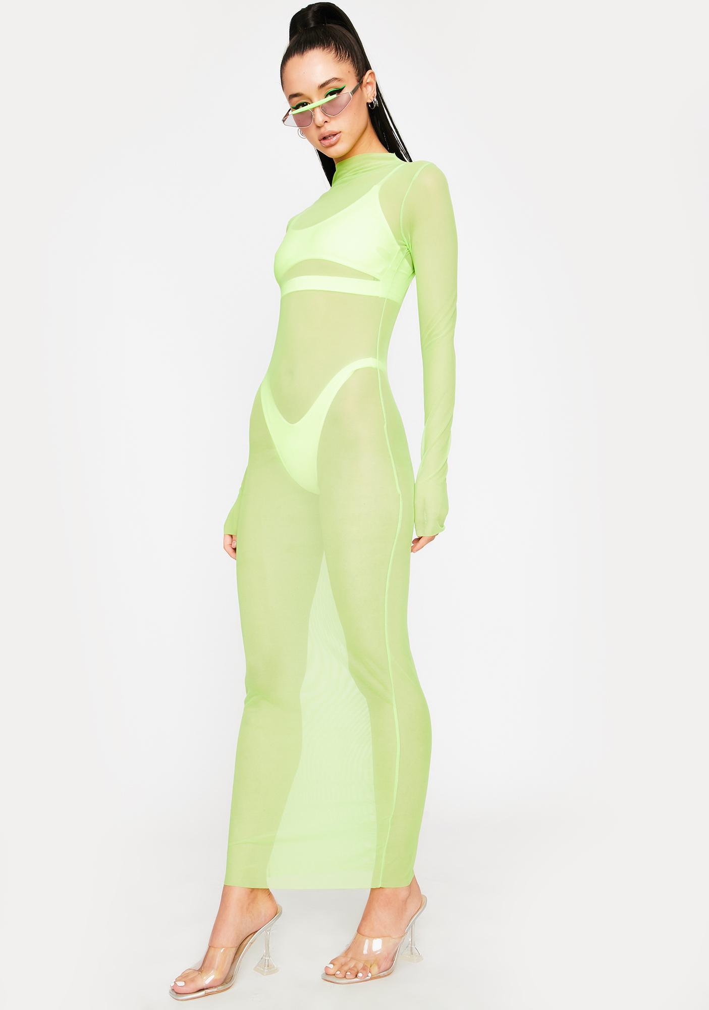OH SHIT Green Godai Mesh Maxi Dress