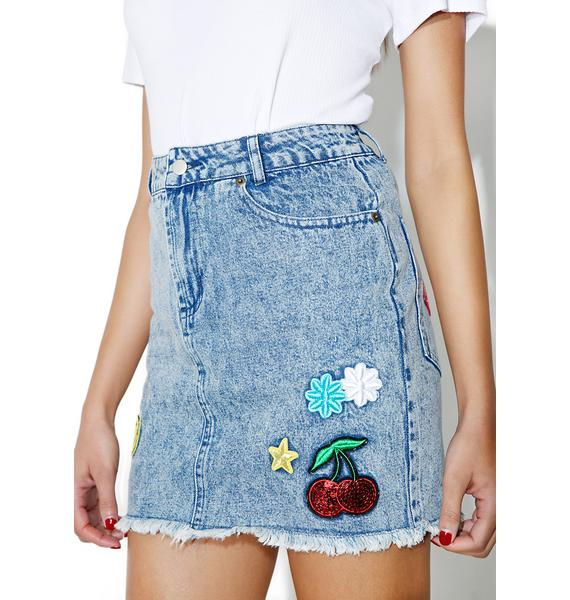 Cherry Bomb Patched Skirt