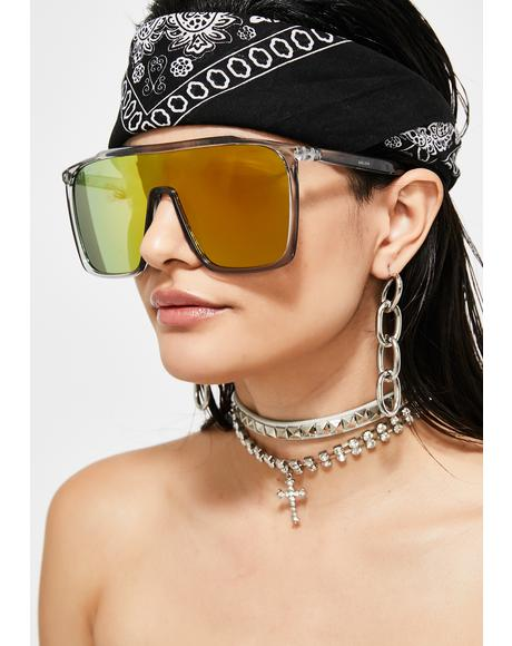 Bodak Futuristic Drip Mirrored Sunglasses