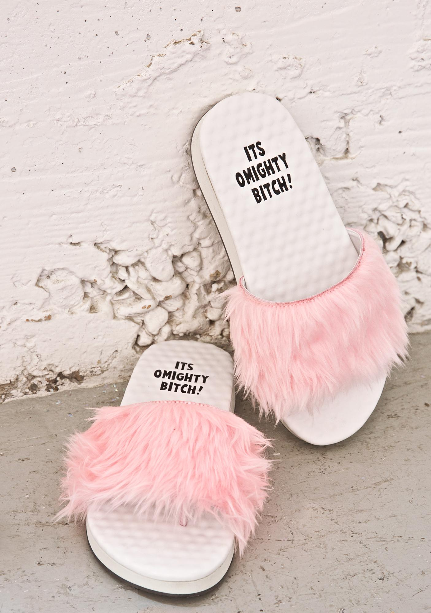 O Mighty BB Pink Furbae Slides