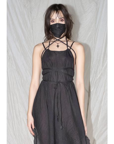 Synth Spaghetti Strap Gauze Tunic Dress
