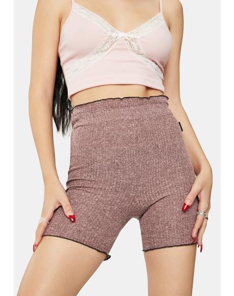 Pink Knit Biker Shorts
