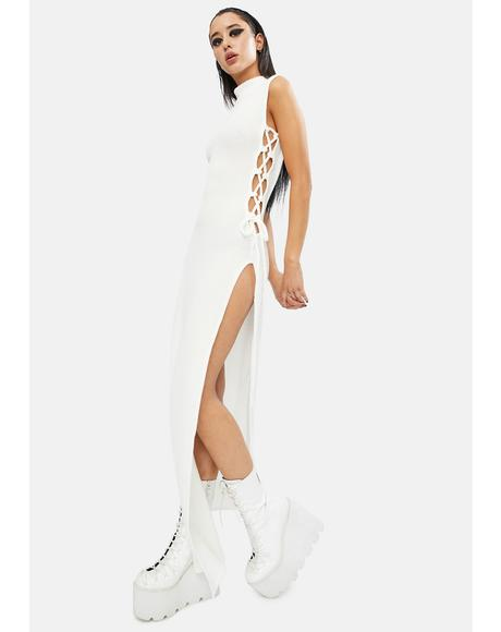 Ivory Right About Now Lace Up Maxi Dress