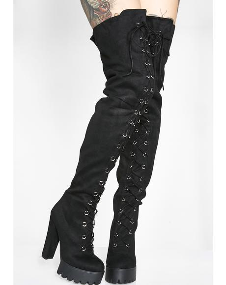 Boy Trouble Thigh High Boots