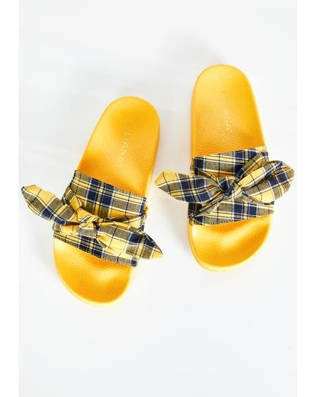 Foolz Gold Plaid Slides
