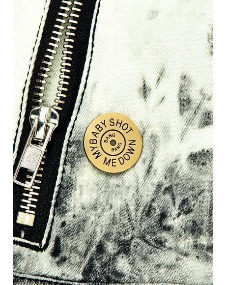 My Baby Shot Me Down Gold Enamel Pin